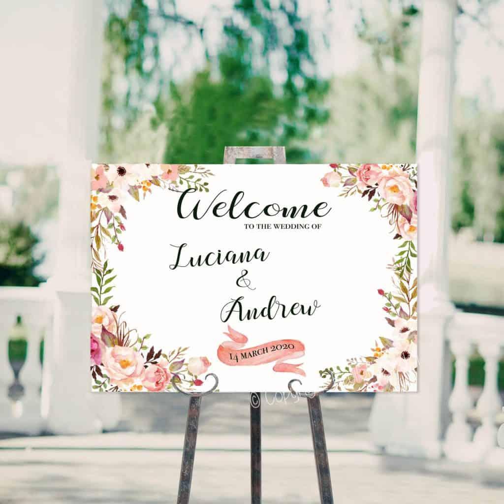 Welkomstbord van Bruiloftbord.nl, model Blush Floral